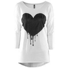 Rotita Round Neck Heart Print White T Shirt
