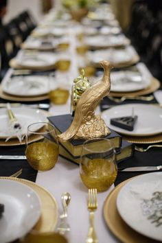 pretty black + gold tablescape