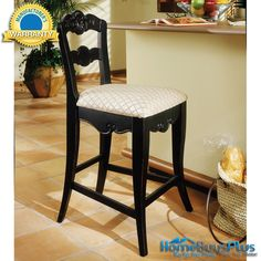 "Powell Furniture 24"" Seat Hills Of Provence Antique Black Counter Stool. $182.00"