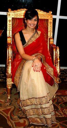 Sabyasachi red & white Saree