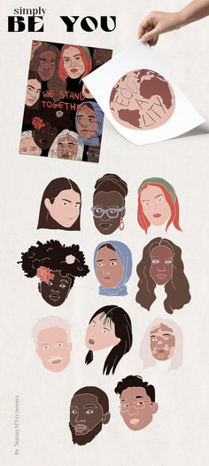 Simply be you Unity equality clipart diversity women   Etsy Diversity, Unity, Equality, Clip Art, Hand Painted, Illustrations, Watercolor, Contemporary, Creative
