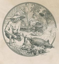 Below are some of Fernando Amorsolo's masterpices: Roasting a Lechon using India ink with pencil on heavy paper 6 inches diamet. Philippine Mythology, Philippine Art, Arte Filipino, Filipino Culture, Philippines Culture, India Ink, Historical Art, Ap Art, Art Studies
