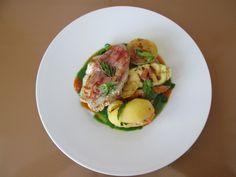 Gino D'Aquino /  Cotolette  de  porc  au jambon  avec legumes  grilles   sauces  de  laitue ,  de  poivron  rouge / Gino D'Aquino