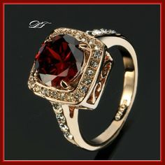 Red Rhinestone Paved CZ Diamond Vintage Finger Ring Gold Plated Fashion Imitation Gemstone Jewelry For Women anel 18k Rose Gold, 18k Gold, Flower Band, Gold Plated Rings, Red Rhinestone, Vintage Diamond, Rose Gold Plates, The Ordinary, Fashion Rings