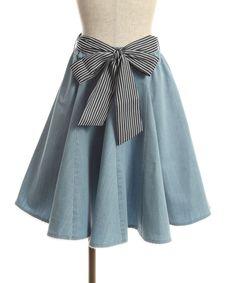 ストライプリボン付フレアスカート