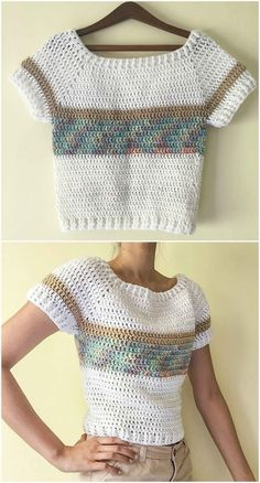 Short-Sleeved Pullover Jumper – Craft Ideas - See PicBrighten up your wardrobe with this beautiful colour blocked jumper, featuring treble crochet. I hope you have enjoyed this beautiful crochet Cardigan Au Crochet, Black Crochet Dress, Crochet Cardigan, Crochet Shawl, Crochet Sweaters, Pull Crochet, Mode Crochet, Crochet Top, Jacket Pattern