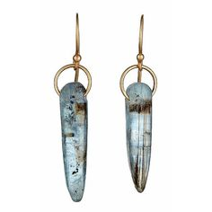 Mismatched Kyanite Earrings in Recycled 14k Gold - Eco Friendly, Ethical - Blue Kyanite Sticks, Daggers, Drops
