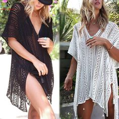 #FASHION #NEW Ariel Sarah Bikini Covers-Up Beach Coat Swimsuit Cover-Ups Lace Beachwear Sun Protection Clothes Knitted Loose Bikini Cover-up