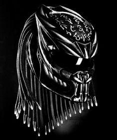 Fancy Helmet Predator (PD motorcycle Size M-L Black White line stripes Motorcycle Events, Custom Motorcycle Helmets, Motorcycle Style, Predator Helmet, Predator Art, Predator Costume, White Style, Black And White, Black Skulls