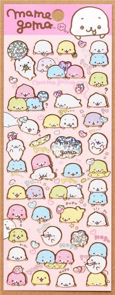 Mamegoma Baby seals soy bean glitter stickers Japan http://kawaiishopping.tumblr.com/