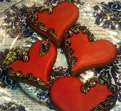 One Dozen Gilded Heart Sugar cookies Valentines Day wedding favor Chocolate Fancy Cookies, Heart Cookies, Iced Cookies, Cupcake Cookies, Sugar Cookies, Cookies Et Biscuits, Cupcakes, Flower Cookies, Vintage Cookies