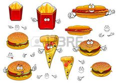 pizza slice: Cartoon cute fast food characters with french fries box, pizza…