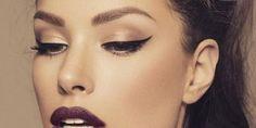 Awesome purple lips and brown eye makeup