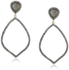 Marcia Moran Russet Silver-Tone Cubic-Zirconia and Labradorite Drop Earrings. Gunmetal-tone dangle earrings framed in cubic zirconia and featuring labradorite inverted teardrops. Friction-back post. Items that are handmade and use natural stones may vary in size, shape, and color. Imported.