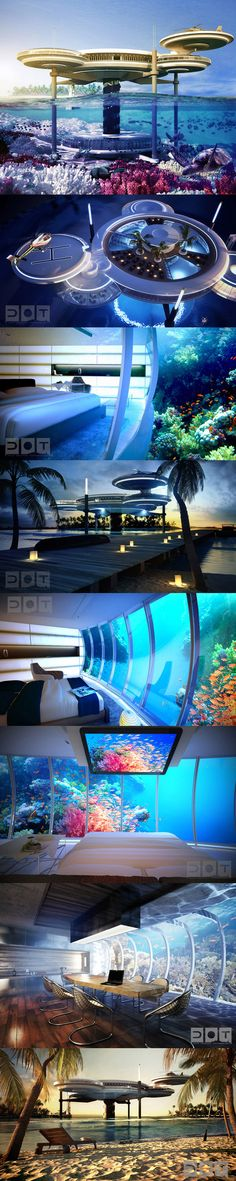 Unbelievable Underwater Hotel in Dubai - The Water Discus Hotel is made up of a series of sci-fi styled discs, and one of these discs will be positioned 21 stories underwater. This will provide guests with an extraordinary view directly into the Persian Gulf.