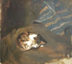 Sleeping cat by Paul Raud (1865 - 1930), oil on canvas