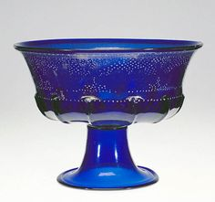 Italian, Murano, about 1500   Free-blown and mold-blown cobalt-blue glass with gold leaf and enamel decoration
