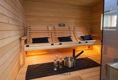 In this sauna everyone can sit an relax, Esteetön sauna, accessible sauna, tuntu, riippulaude Diy Sauna, Sauna House, Sauna Heater, Sauna Design, Home Gym Design, House Design, Home Spa Room, Spa Rooms, Modern Bathroom Design