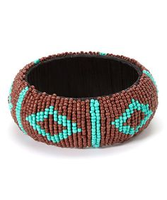 Another great find on #zulily! Brown & Turquoise Beaded Bangle #zulilyfinds