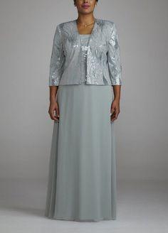 Grandmother of the Bride ---Amazon.com: 3/4 Sleeve Long Sequin Jacket Dress: Clothing