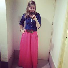 Maxi skirt, chambray