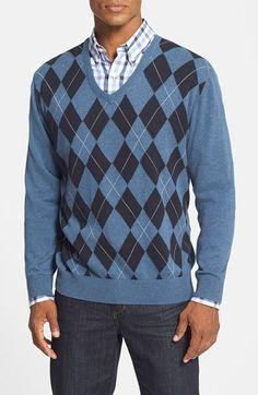 Free shipping and returns on Cutter & Buck 'Hadley' Regular Fit Argyle V-Neck Sweater at Nordstrom.com. Sweater style doesn't get more classic than a dapper argyle V-neck. This one is knit in a classic blue colorway from soft, breathable cotton so you feel as good as you look.