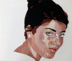 Embroidered portrait by Liz L Reilly