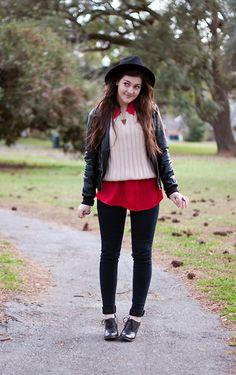 Windsor Faux Leather Jacket, Forever 21 Fedora, Thrifted Creme Jumper, Target Oxford Heels