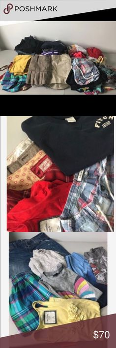 60 piece woman's lot of clothing- Great Condition Great condition woman's lot of clothing. Some NWT. Sweaters, tees, dress pants, shorts, skirts... Most from Abercrombie, Express, Pink, Hollister, American Eagle, Old Navy... All XS/S or 0/2/4 Great condition with no rips, tears or stains. Abercrombie & Fitch Tops