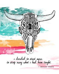 Georgia O'Keefe Quote Cow Skull 8x10 Metallic by LeslieSabella, $20.00
