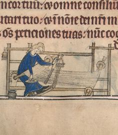 Using a boat shuttle. psalter of Queen Isabella of England  BSB Shelfmark: Cod.gall. 16, via World Digital Library http://www.wdl.org/en/item/8957/view/1/44/