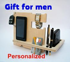 Fathers Day Gift for Dad Mens Birthday Gift Dad Gifts Gift for Son Gift for him Father gift Gifts for men Wood Docking Station Gifts For Father, Gifts For Him, Dad Gifts, Fathers, Iphone Docking Station, Support Telephone, Personalized Gifts For Dad, Iphone Stand, Christmas Gifts For Boyfriend