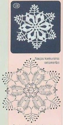 Crochet Patterns Christmas Christmas decorations on Stylowi. Crochet Snowflake Pattern, Crochet Stars, Crochet Motifs, Crochet Snowflakes, Crochet Diagram, Thread Crochet, Crochet Flowers, Crochet Stitches, Knit Crochet