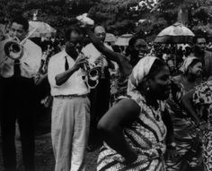 Trummy Young, Louis Armstrong, and Edmond Hall in West Africa, 1956