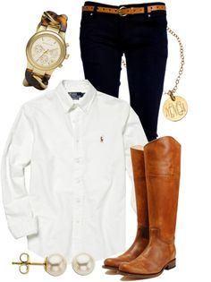 A fashion look from March 2013 featuring Polo Ralph Lauren tops, Michael Kors jewelry and Miriam Merenfeld necklaces. Browse and shop related looks. Preppy Outfits, Preppy Style, Style Me, Cute Outfits, Preppy Clothes, Preppy Fashion, Summer Clothes, Fall Winter Outfits, Autumn Winter Fashion