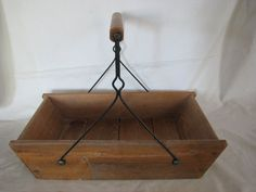 Vintage French Primitive Trough with Wooden and Wire Handle Canted Sides