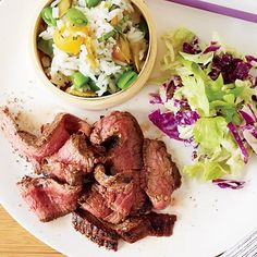 Grilled Flank Steak with Sichuan Peppercorns | Marcia Kiesel loves the numbing heat of Sichuan peppercorns. Inspired by dan dan, the Sichuan noodle dish, she seasons flank steaks with a simple but potent blend of the peppercorns and store-bought Chinese black bean-garlic paste.