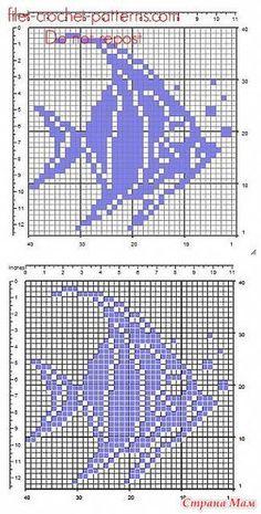 Филейное вязание крючком. Filet Crochet Charts, Knitting Charts, Crochet Stitches, Crochet Fish Patterns, Crochet Basket Pattern, Funny Cross Stitch Patterns, Cross Stitch Designs, Pixel Art Geek, Nautical Crochet