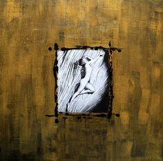 Goldess - Collages et peinture sur toile 60x60