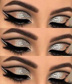 Retro Makeup Retro Eyeliner and Glitter Eye Makeup Look - Glitter Eyebrows, Glitter Eye Makeup, Eye Makeup Art, Blue Eye Makeup, Eye Makeup Tips, Prom Makeup, Makeup For Brown Eyes, Eyeshadow Makeup, Makeup Ideas