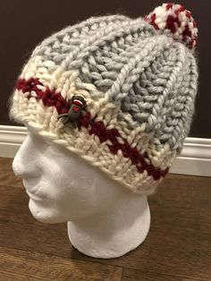 Sock Monkey Hat With Button and Pompom Ladies Hat Kid s Sock Monkey Hat 873c25e408d4