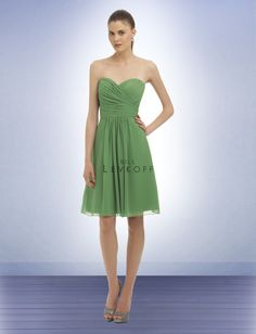 Bill Levkoff #323: Chiffon strapless cocktail dress with a sweetheart neckline. Asymmetrical ruching and pleats shape the bodice. Soft gathers adorn the skirt.