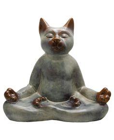 Cat  Meditating on a rock Yoga Feline  Decor