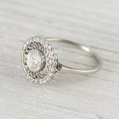vintage .6 ct platinum edwardian diamond engagement ring... so perfectly vintage