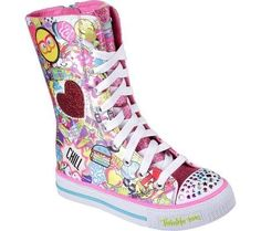 Soft satiny fabric and glitter finish fabric upper in a lace-up casual super-high-top light-up sneaker with colorful pop art mixed media print and on/off switch feature. Soft satiny fabric upper with glitter finish canvas overlay detail Glittering colorful rhinestone accents on toe cap Colorful lights on toe cap light up and blink with every step!   eBay!