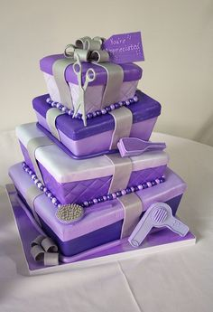 Gift Box Topsy Turvy Cake, made for a hairstylist, by La Bella Torta. (Purple!!)