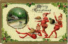 """ Christmas Elves "" Vintage Post Card with an embossed surface, DB-UNU, and in Very Good Condition. Karodens Vintage Post Cards."