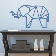 Muursticker Origami Olifant - wall-art.nl