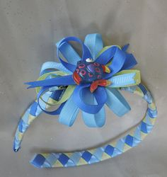 Blue FIsh Ribbon Woven Headband with by AdelaidDesigns on Etsy