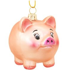 Pink Glass Pig With Curly Tail Ornament $9.99